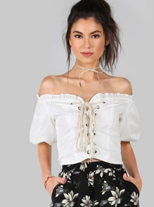 Puffy Sleeved Lace Up Crop Top OFF WHITE