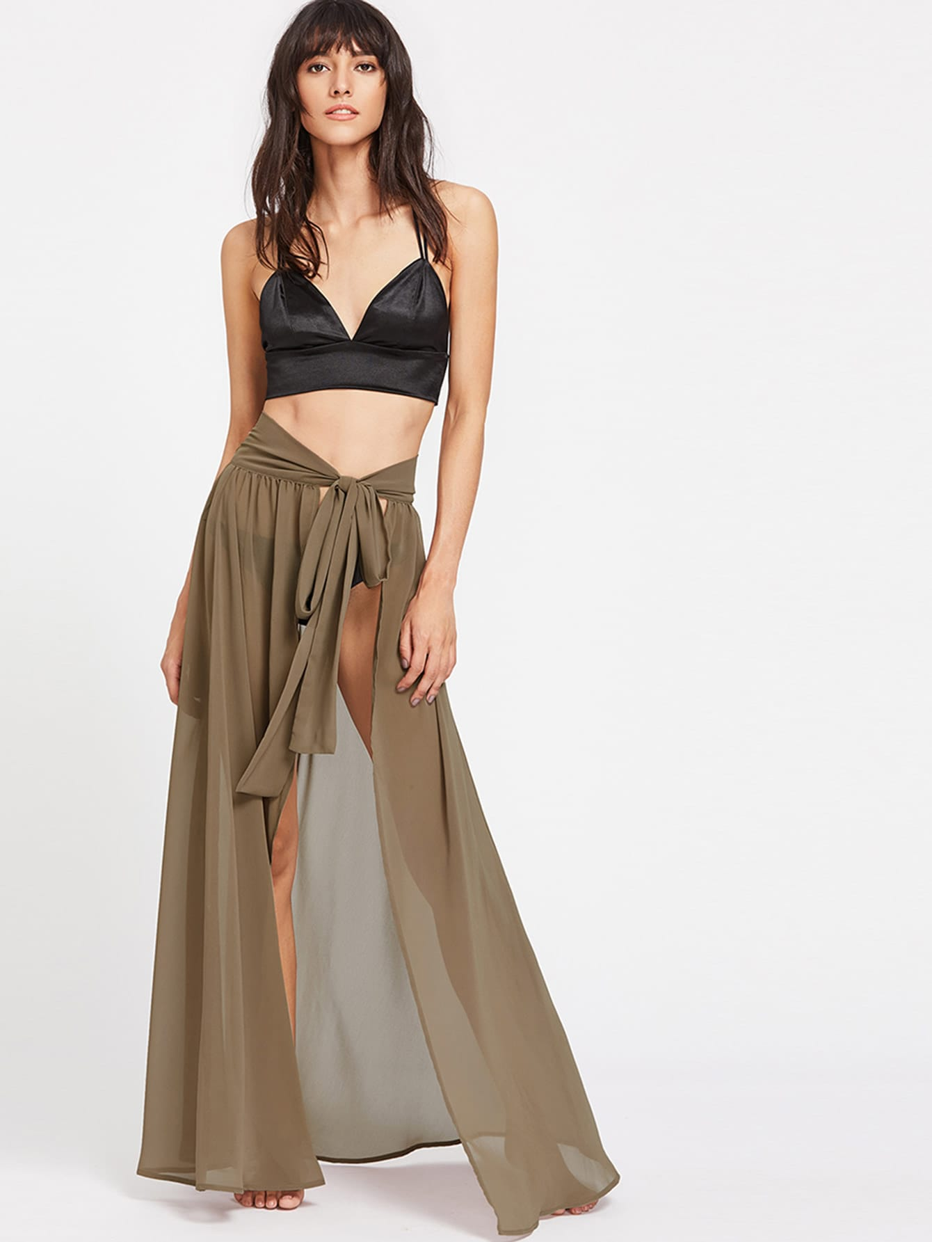 Фото High Slit Cover Up Self Tie Skirt. Купить с доставкой