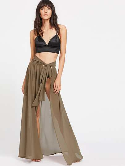 High Slit Cover Up Self Tie Skirt