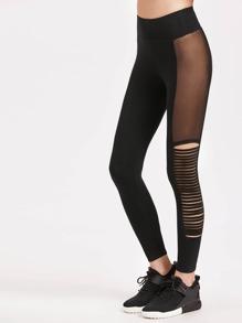 Mesh Insert Strappy Side Leggings