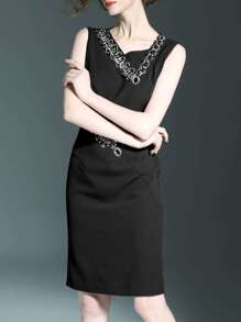 Black V Neck Beading Sheath Dress