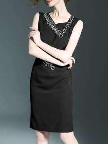 Black V Neck Beading Sheath Dress