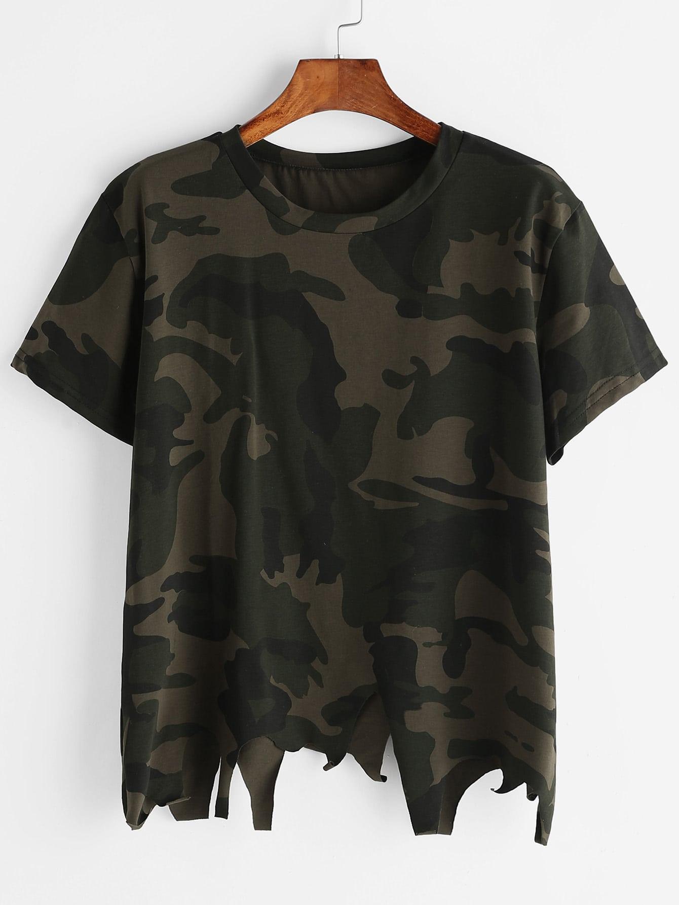 Camo Print Asymmetric Raw Hem T-shirt