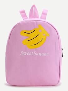 Pink Banana Print Canvas Backpack