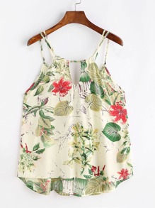 Tropical Print Lattice Dip Hem Cami Top