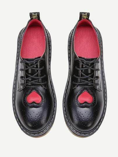 Black Laser Cut Heart Pattern Lace Up Shoes