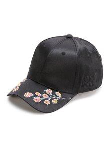 Gorra béisbol con bordado de flor - negro