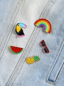 Multicolor Rainbow Design Brooch Set
