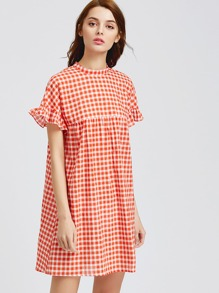 Checkered Frill Sleeve Keyhole Tie Back Smock Dress