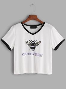 Camiseta con dibujo de abeja reina - Blanco