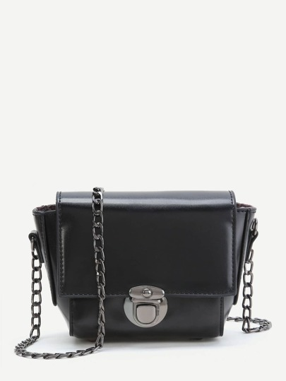 Black PU Crossbody Chain Bag
