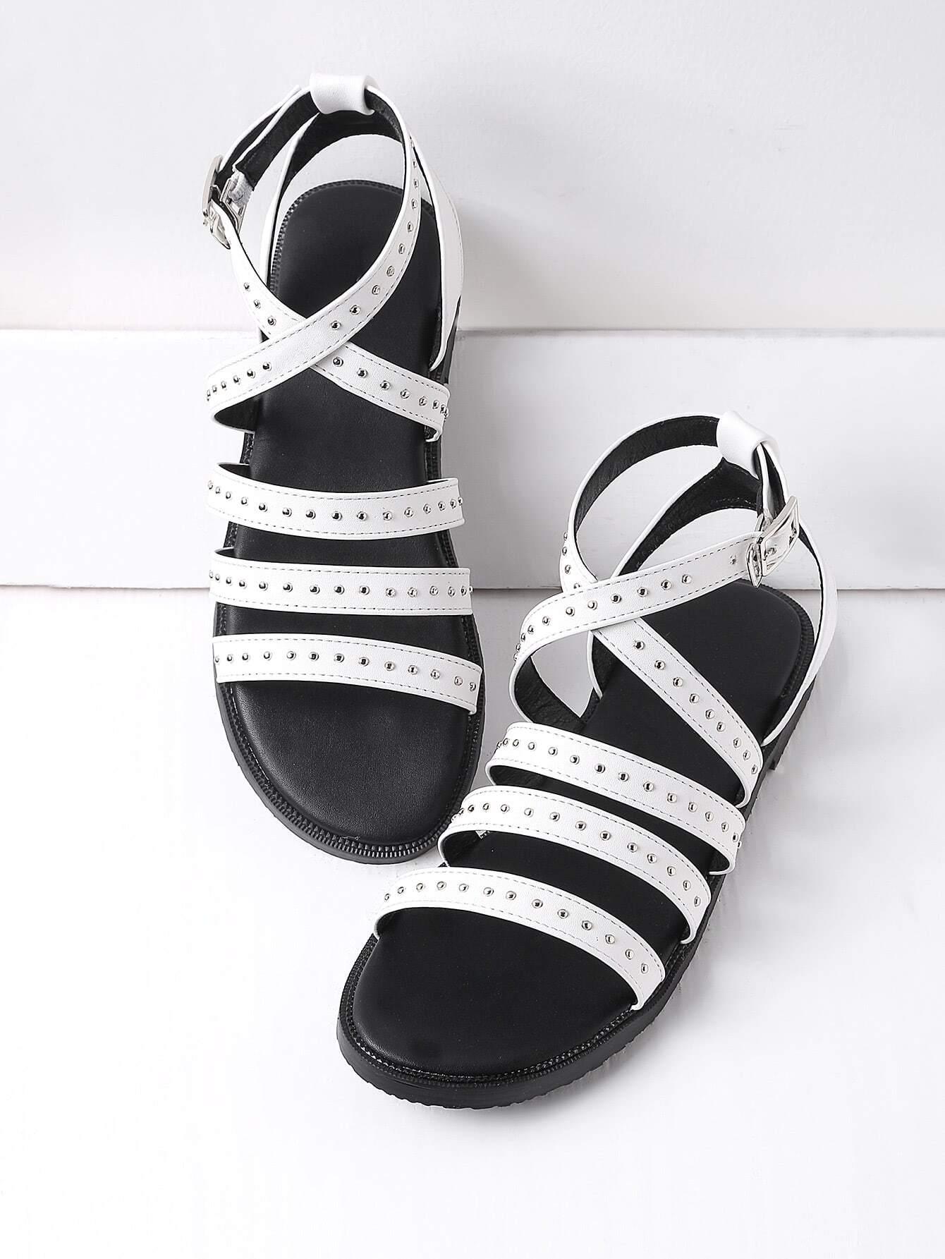Фото Studded Strappy Falt Sandals. Купить с доставкой