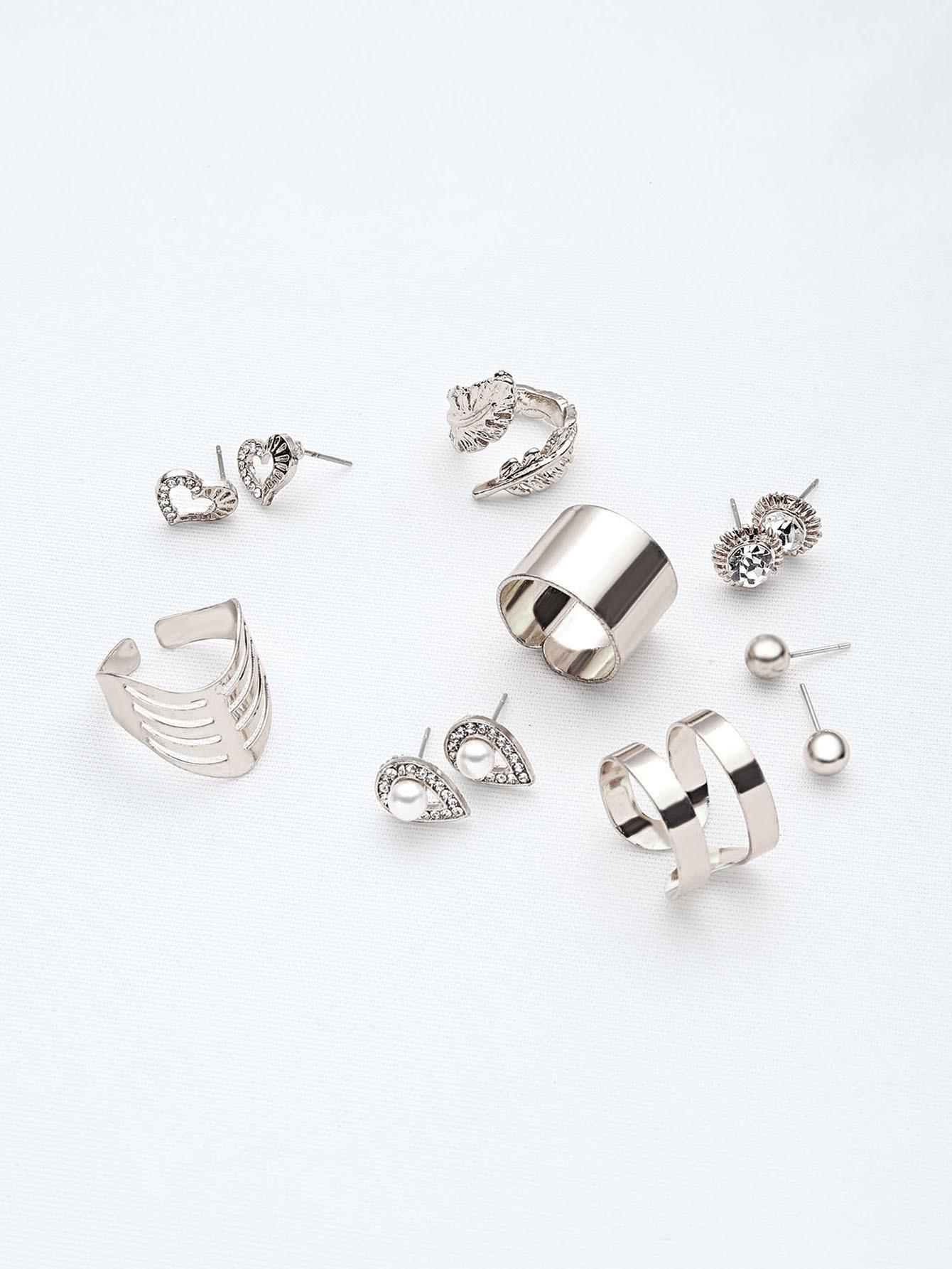 Фото Silver Leaf And Heart Shape Jewelry Set. Купить с доставкой