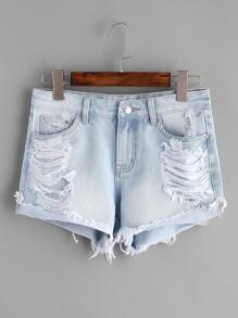 Lavare shorts in denim effetto - blu