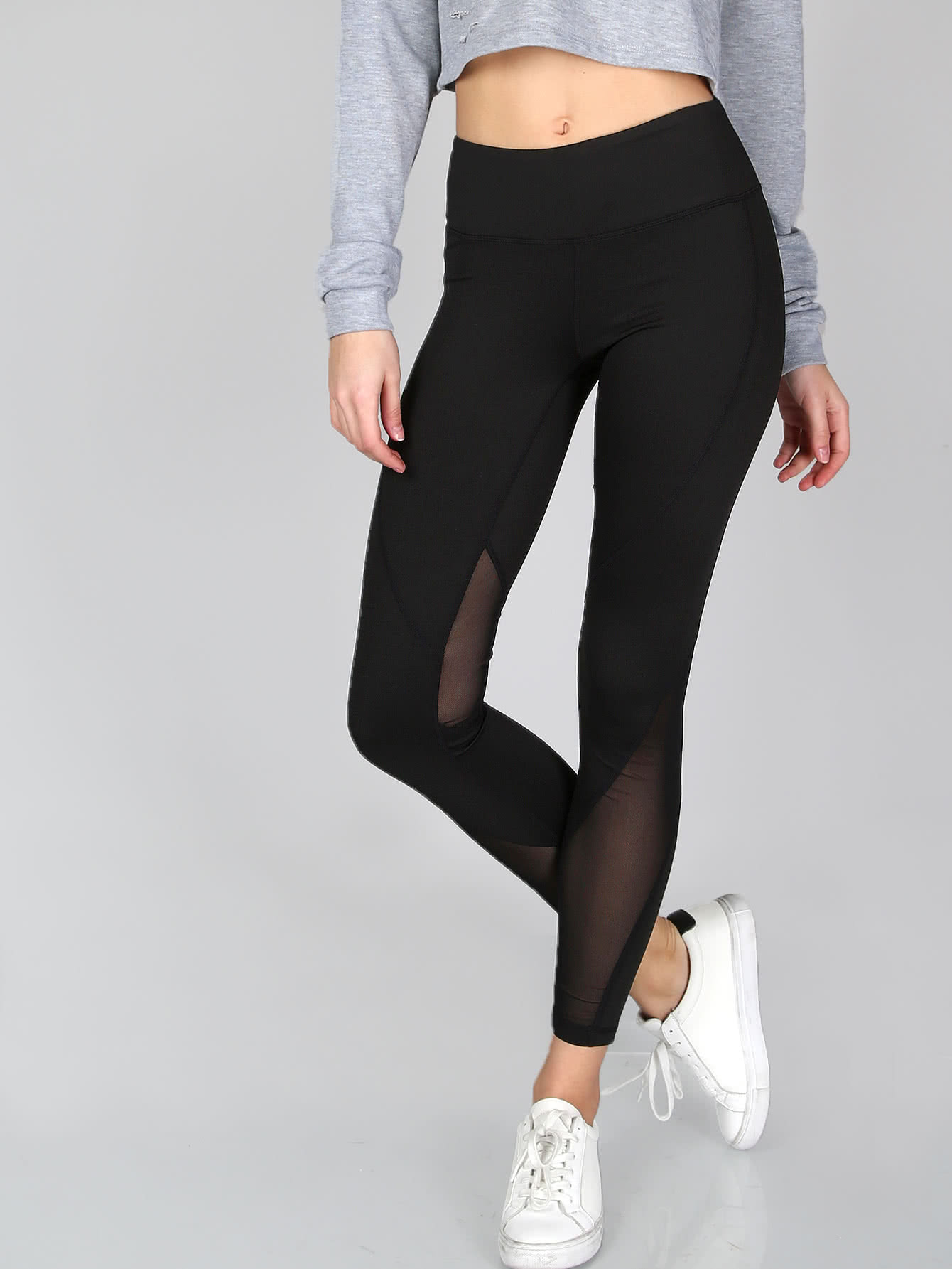 Thick Sheer Mesh Panel Leggings sheer plus size mesh panel workout leggings