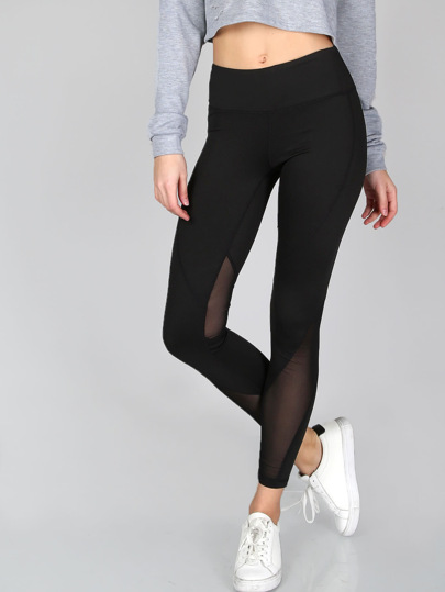 Thick Sheer Mesh Panel Leggings
