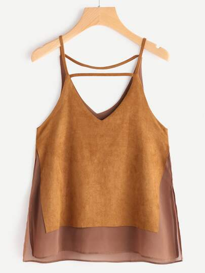 V Neck Suede Contrast Lace Cami Top