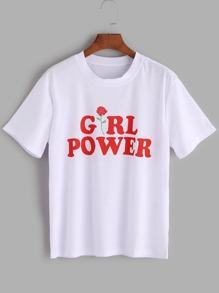 T-shirt con stampa di lettera ,con maniche corte,binaco