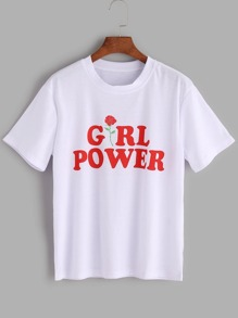 Letters Print T-shirt