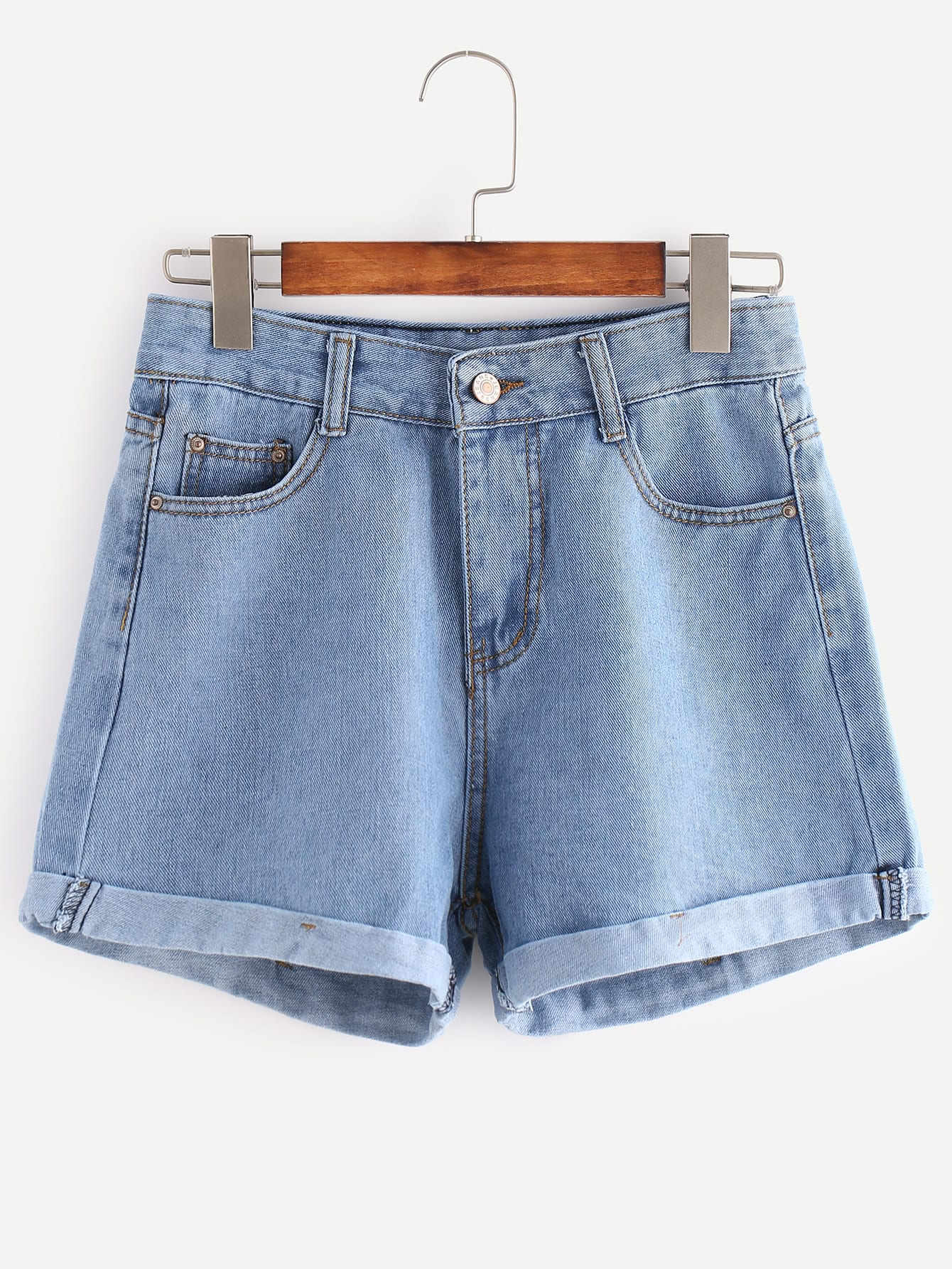 Distressed Cuffed Denim Shorts frill trim cuffed denim shorts