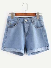 Distressed Cuffed Denim Shorts