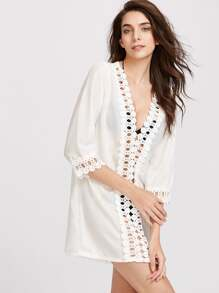 Plunge Hollow Out Crochet Cover Up Dress