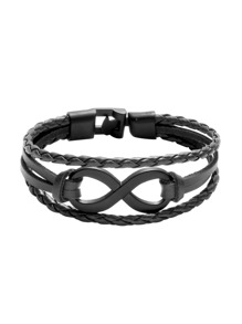 Black Layered Braided Bracelet