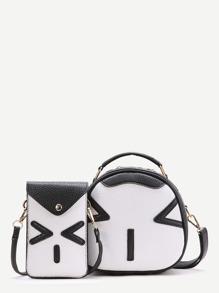 Black Emoji Pattern Crossbody Bag With Pouch Bag