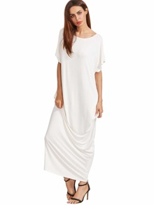 Beige Short Sleeve Shift Maxi Dress With Pocket