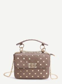 Khaki Studded PU Chain Bag With Handle