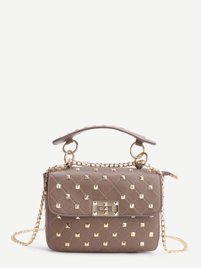 Khaki Studded PU Chain Bag With Handle