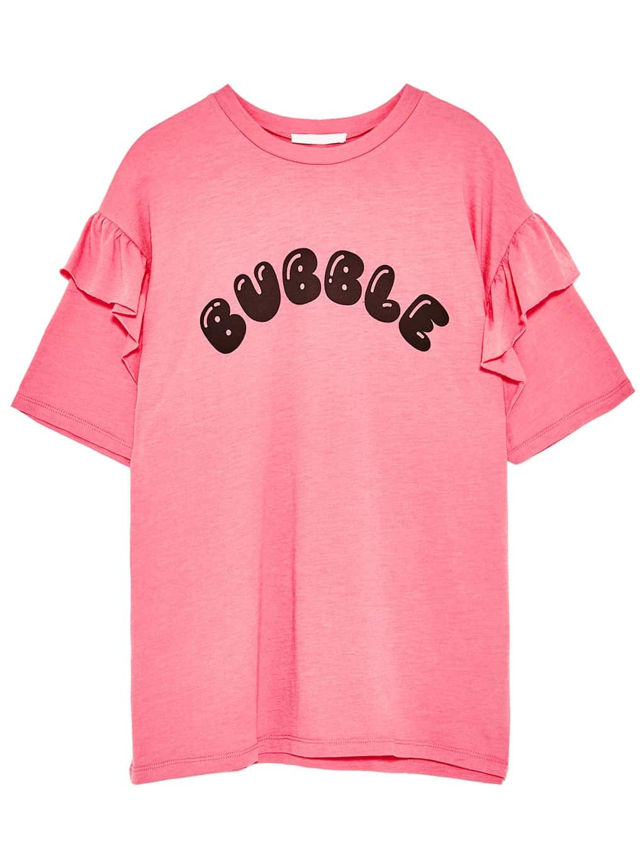 Pink Letter Print Ruffle Trim T-shirt