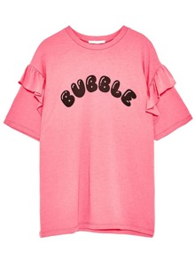 Camiseta con estampado de letra ribete de volantes - rosa
