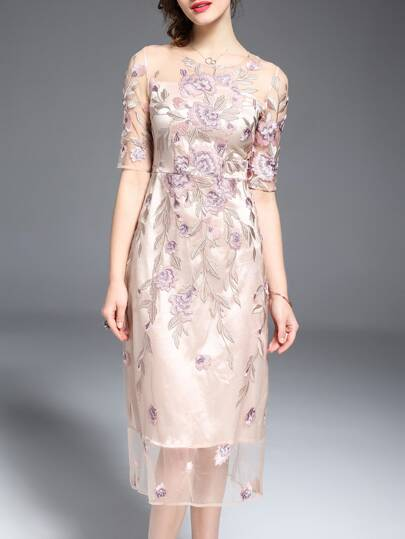 Apricot Gauze Embroidered Sheer Dress