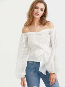Off The Shoulder Lantern Sleeve Belted Checkered Mesh Top