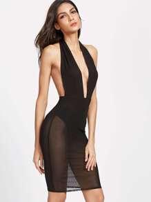 Plunge Halter Neck Backless Mesh Bodysuit Dress