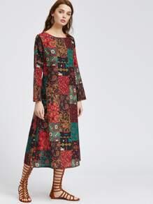 Robe à imprimé multicolore à imprimé vintage