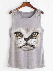 Top-print chat clouté - Gris