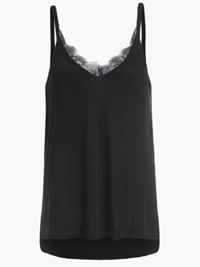 Lace Trim Double V Neck High Low Cami Top