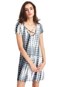 V-Ausschnitt Criss Cross Front T-Shirt Kleid
