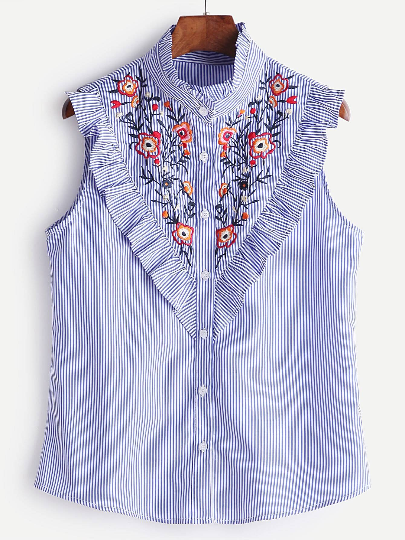Blue-Striped-Ruffle-Trim-Embroidered-Sleeveless-Blouse