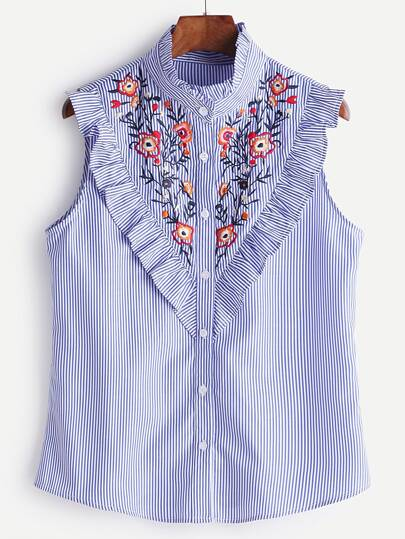 Blue Striped Ruffle Trim Embroidered Sleeveless Blouse