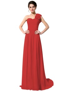 Red One Shoulder Flower Trim Maxi Chiffon Bridesmaid Dress