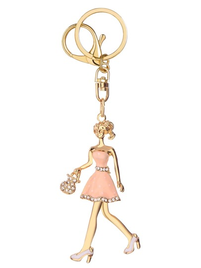 Gold Girl Shape Cute Keychain