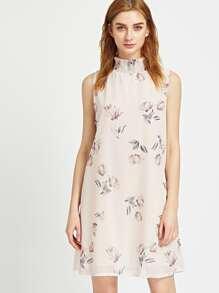 Apricot Floral Print Keyhole Back Dress