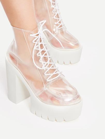 Модные прозрачные босоножки на каблуках со шнуровкой