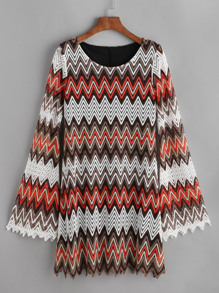 Multicolor Hollow Out Chevron Crochet Dress
