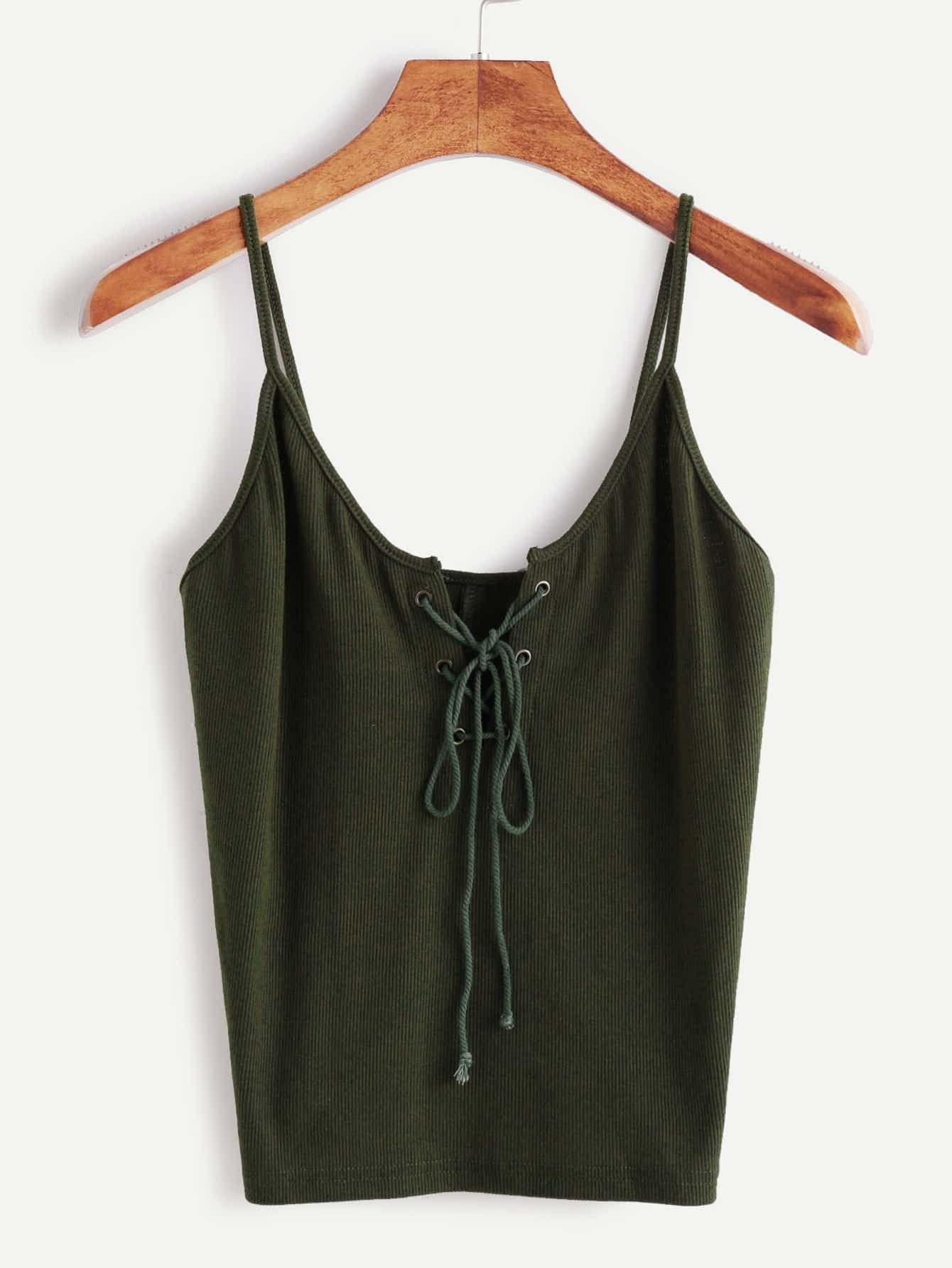 Green Lace Up Front Cami Top RVES161107001