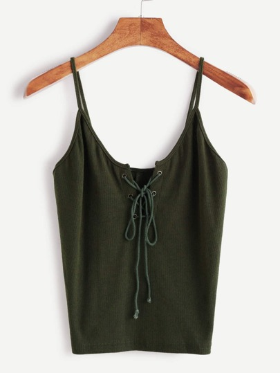 Green Lace Up Front Cami Top