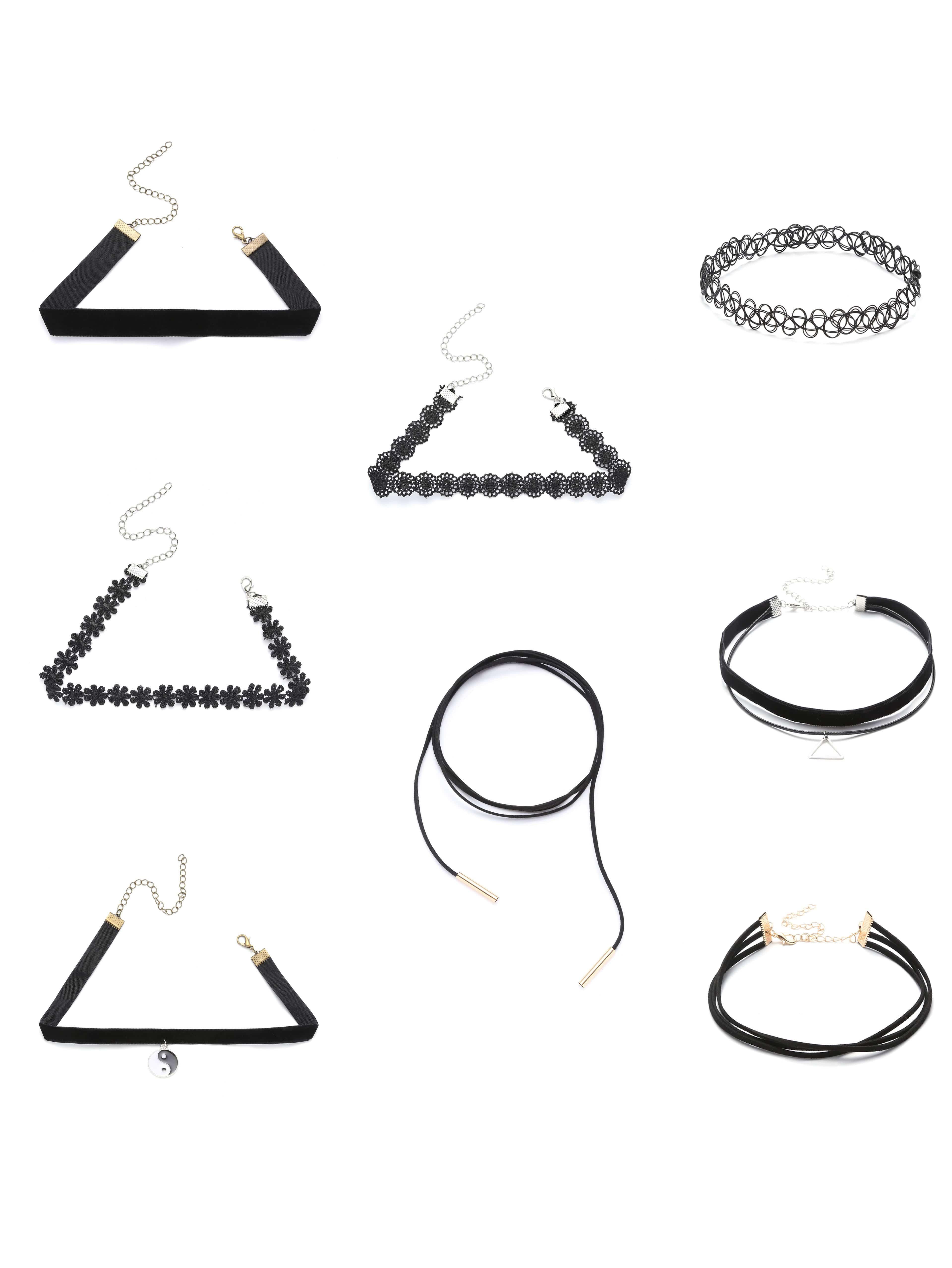 Image of 8PCS Black Choker Set